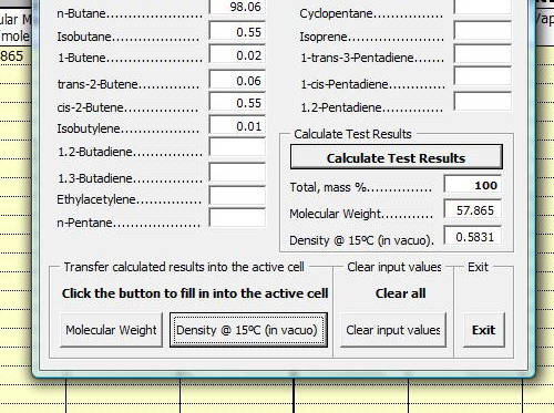 Molar and Density Calculator - Office 2007
